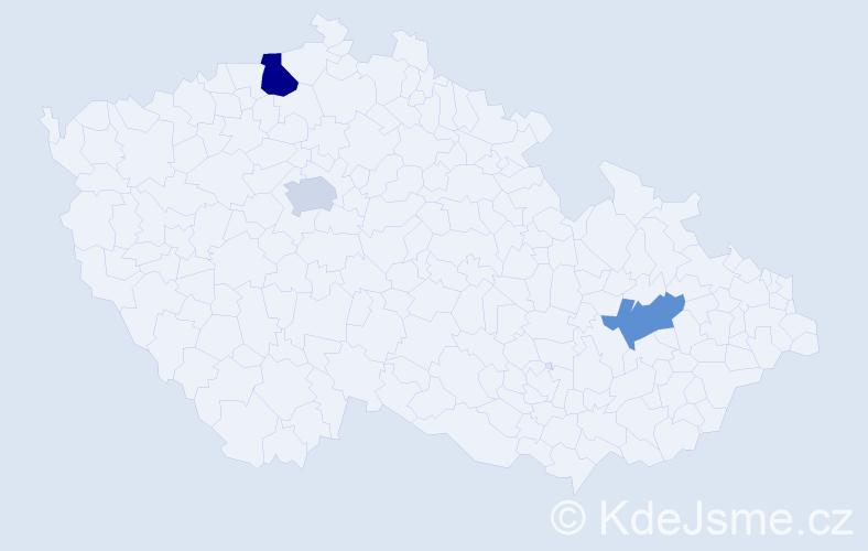Příjmení: 'Hachran', počet výskytů 4 v celé ČR