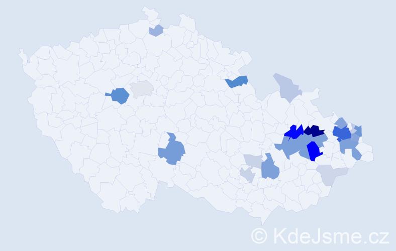 Příjmení: 'Frydryšek', počet výskytů 90 v celé ČR
