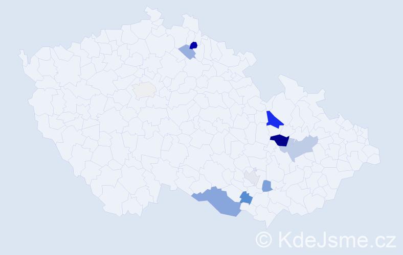 Příjmení: 'Gargela', počet výskytů 20 v celé ČR