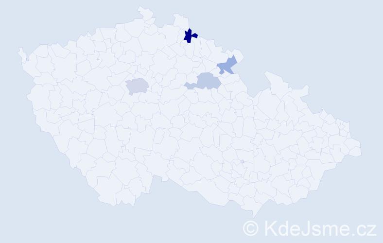 Příjmení: 'Barentová', počet výskytů 8 v celé ČR