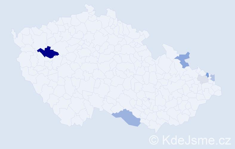 Příjmení: 'Bratek', počet výskytů 16 v celé ČR
