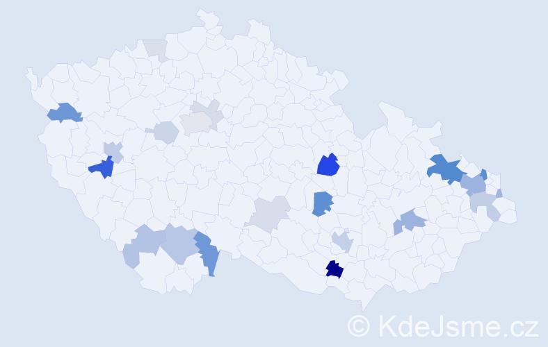 Příjmení: 'Bielková', počet výskytů 62 v celé ČR