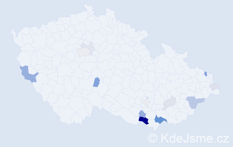 Příjmení: 'Gožďálová', počet výskytů 37 v celé ČR