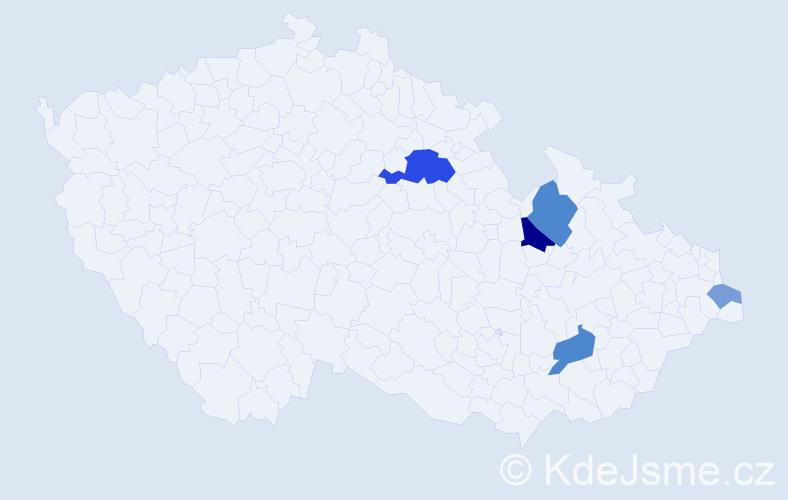 Příjmení: 'Danielčíková', počet výskytů 11 v celé ČR