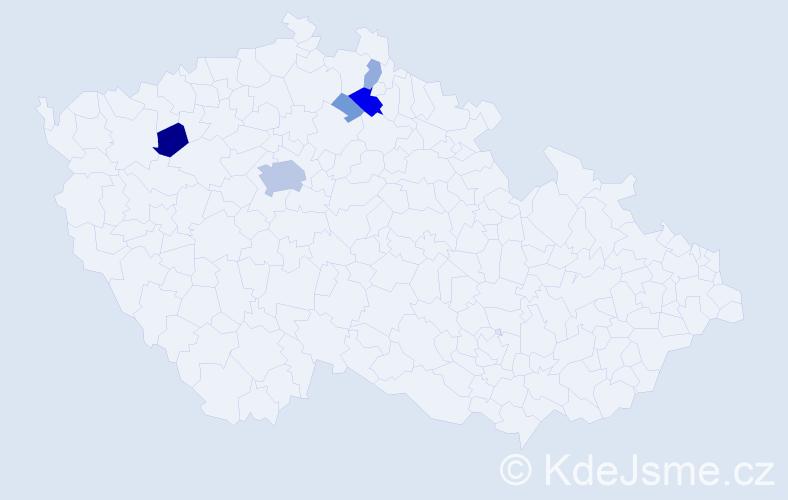 Příjmení: 'Ješke', počet výskytů 25 v celé ČR