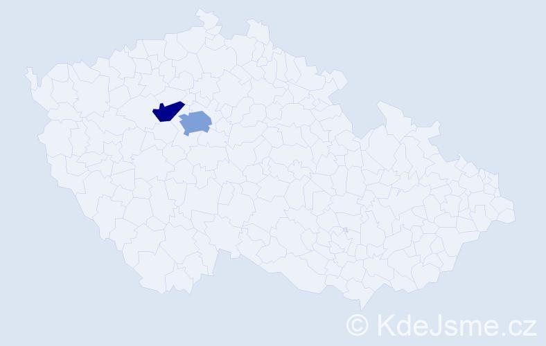 Příjmení: 'Chudánová', počet výskytů 3 v celé ČR