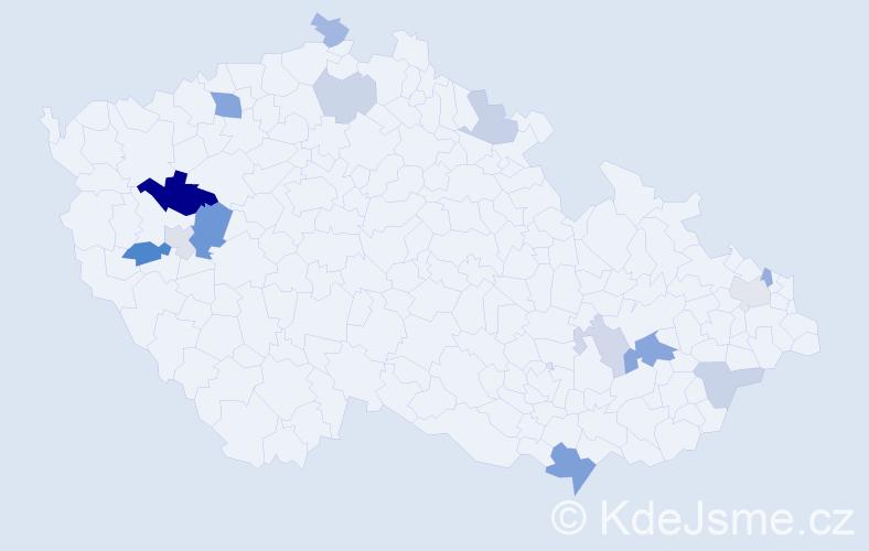 Příjmení: 'Karafa', počet výskytů 26 v celé ČR