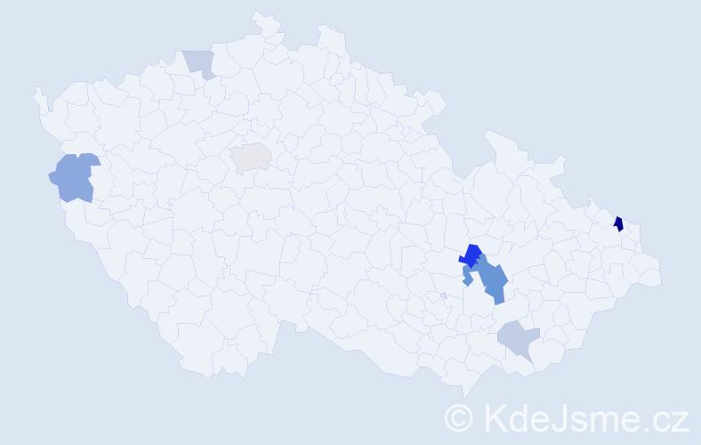 Příjmení: 'Lanžová', počet výskytů 14 v celé ČR