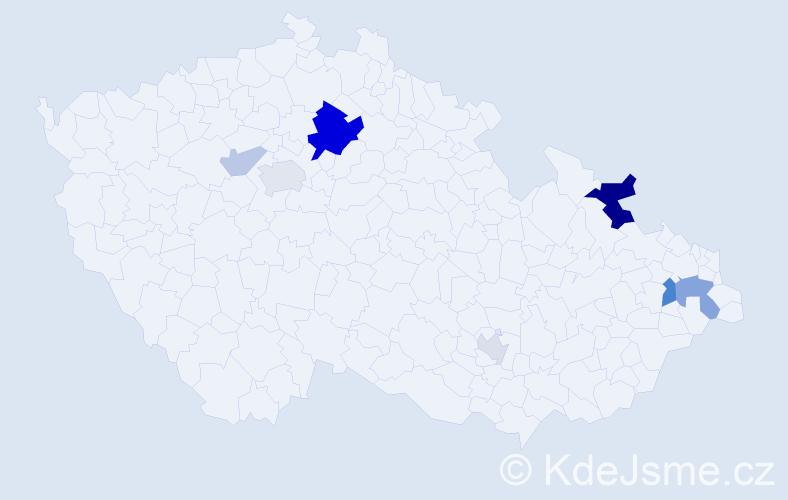 Příjmení: 'Kaniak', počet výskytů 19 v celé ČR