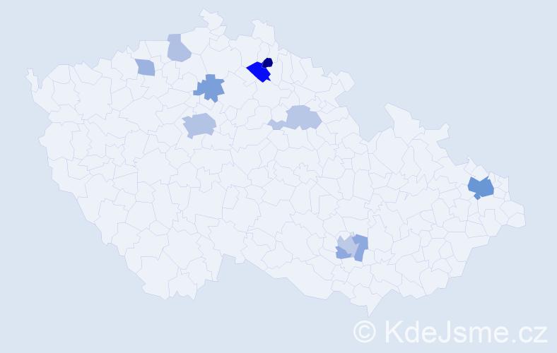 Příjmení: 'Janevová', počet výskytů 23 v celé ČR