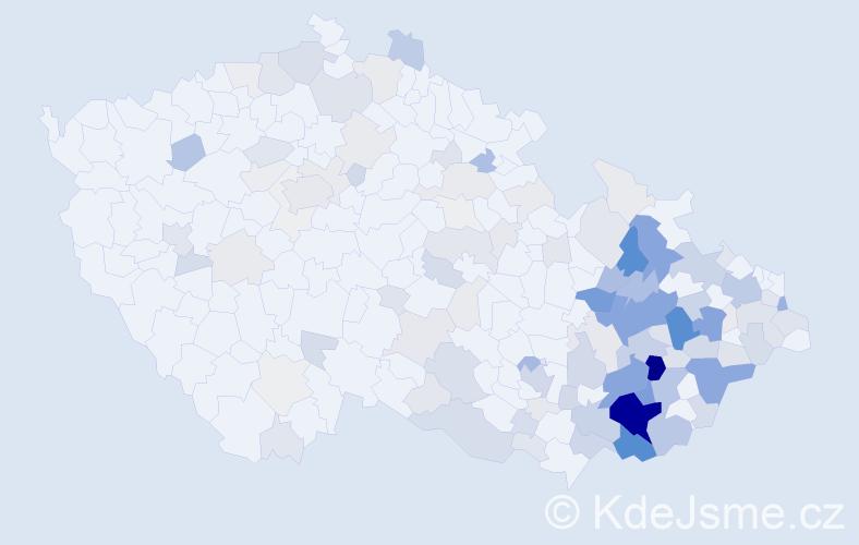Příjmení: 'Andrýsek', počet výskytů 636 v celé ČR