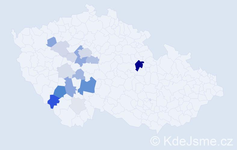 Příjmení: 'Kadoch', počet výskytů 54 v celé ČR