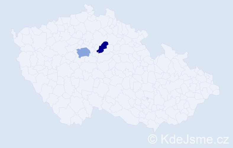 Příjmení: 'Ceeh', počet výskytů 5 v celé ČR