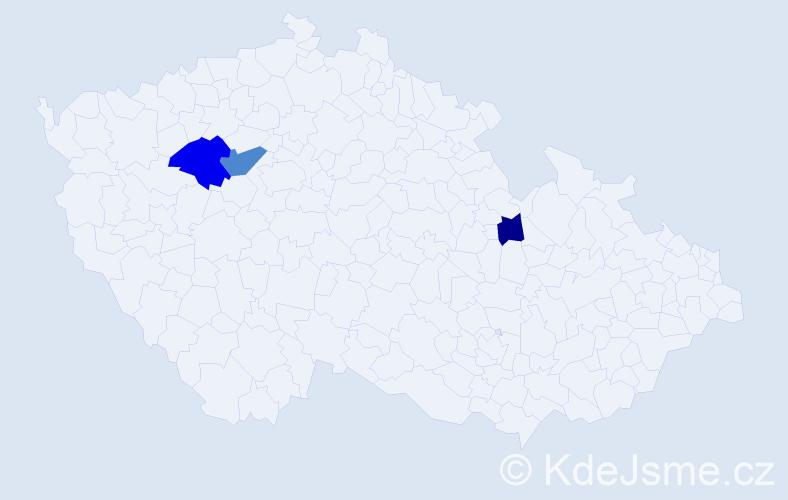 Příjmení: 'Kilácsko', počet výskytů 5 v celé ČR