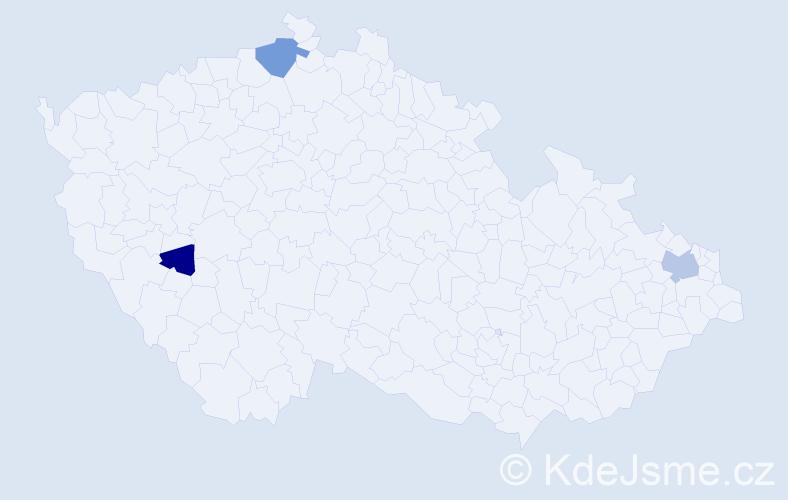 Příjmení: 'Kucera', počet výskytů 5 v celé ČR