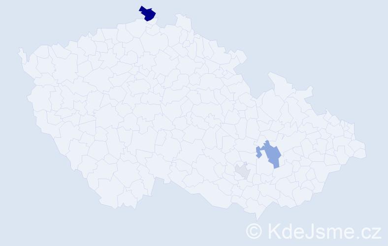 Příjmení: 'Kmecíková', počet výskytů 7 v celé ČR