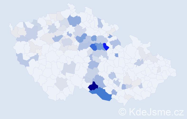 Příjmení: 'Konvalina', počet výskytů 347 v celé ČR