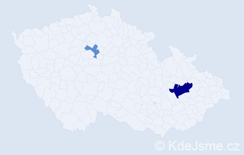 Příjmení: 'Děreš', počet výskytů 9 v celé ČR