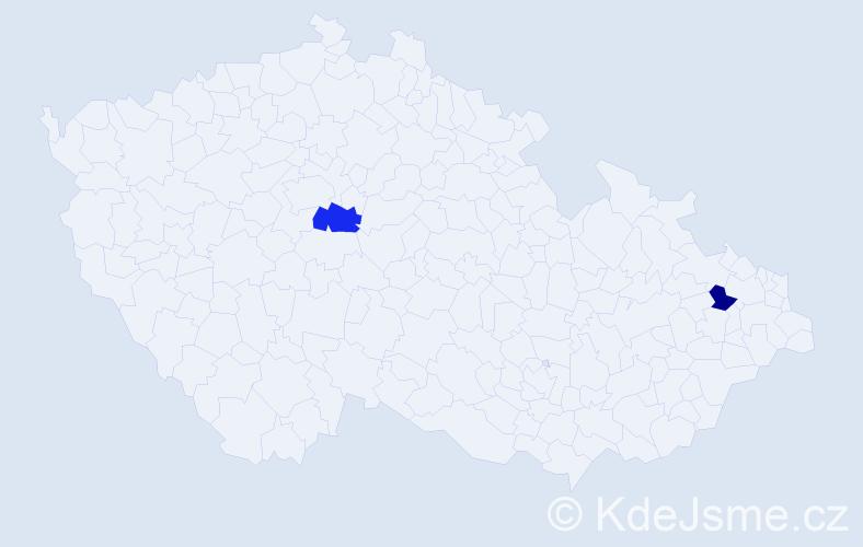 Příjmení: 'Carrillo', počet výskytů 5 v celé ČR