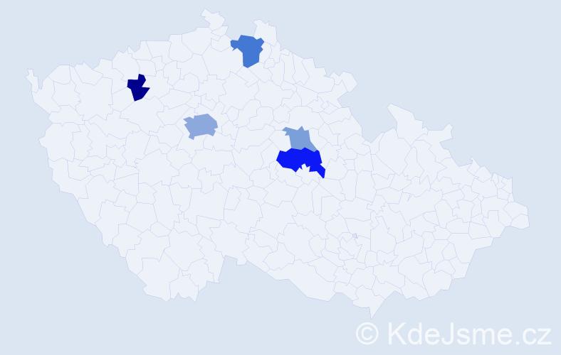 Příjmení: 'Fantlová', počet výskytů 11 v celé ČR