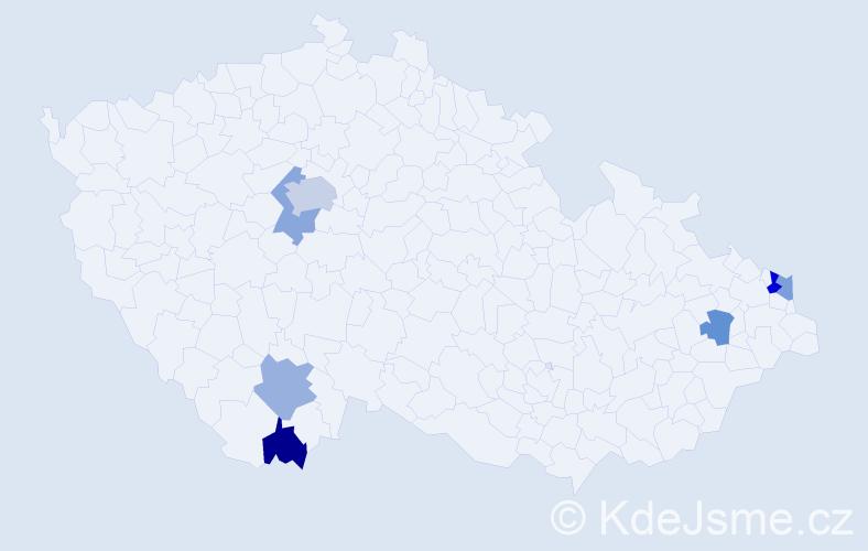 Příjmení: 'Jamrik', počet výskytů 10 v celé ČR