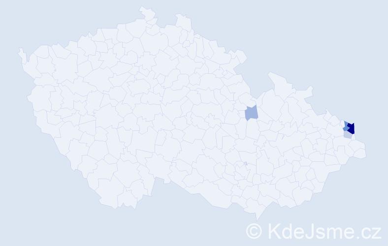 Příjmení: 'Czendlik', počet výskytů 27 v celé ČR