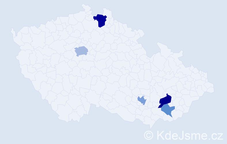 Příjmení: 'Jachurová', počet výskytů 11 v celé ČR