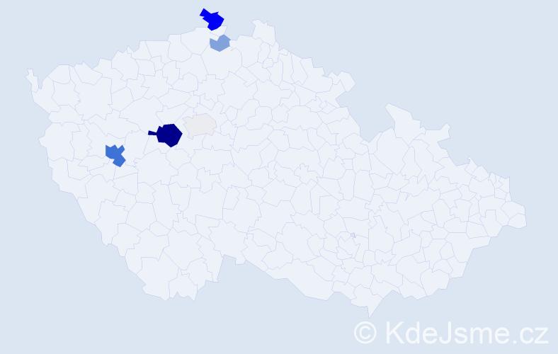 Příjmení: 'Kaluba', počet výskytů 24 v celé ČR