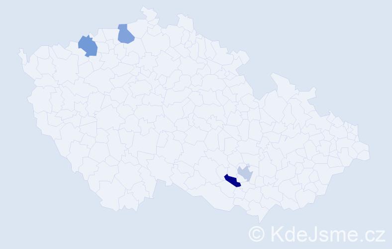 Příjmení: 'Firicová', počet výskytů 4 v celé ČR
