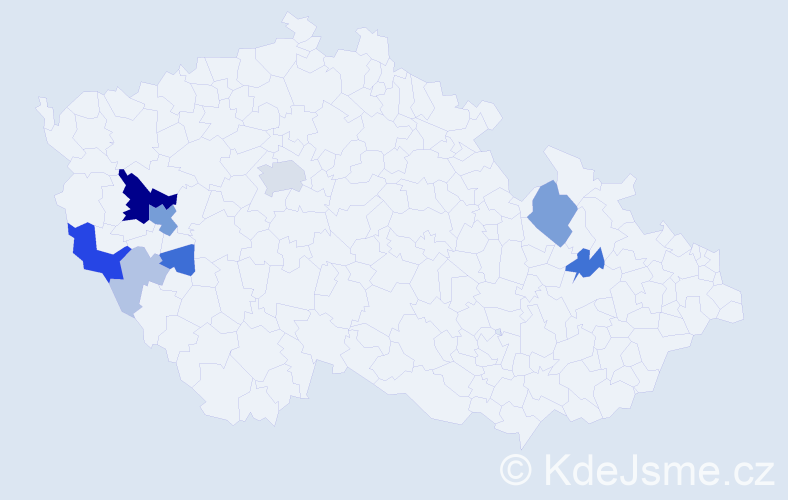 Příjmení: 'Ekstein', počet výskytů 30 v celé ČR