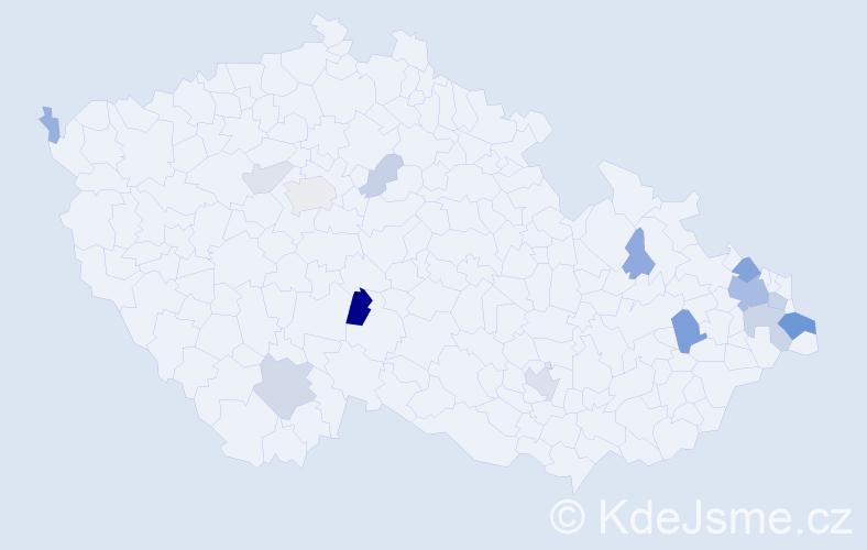 Příjmení: 'Holenka', počet výskytů 40 v celé ČR