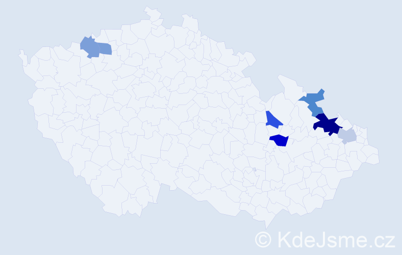 Příjmení: 'Jatzek', počet výskytů 10 v celé ČR