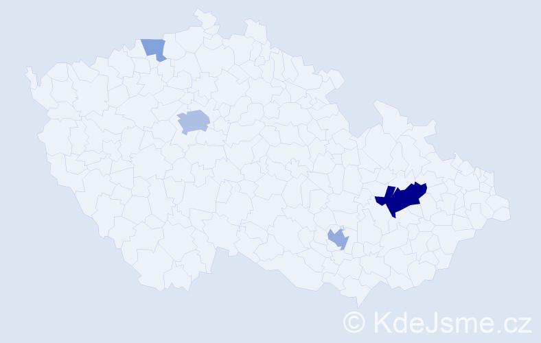Příjmení: 'Haitman', počet výskytů 12 v celé ČR