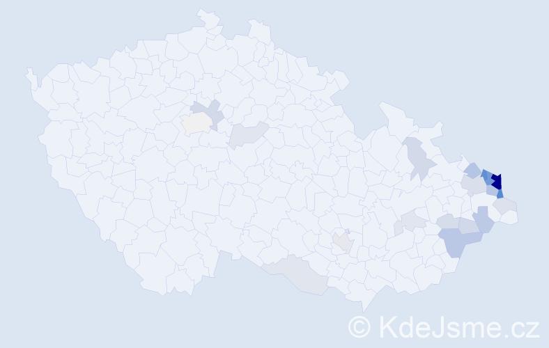 Příjmení: 'Grobelný', počet výskytů 70 v celé ČR