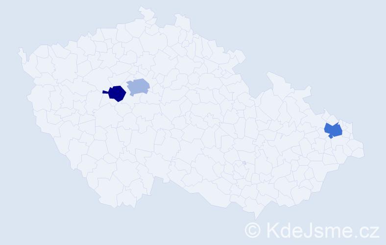 Příjmení: 'Baliak', počet výskytů 5 v celé ČR