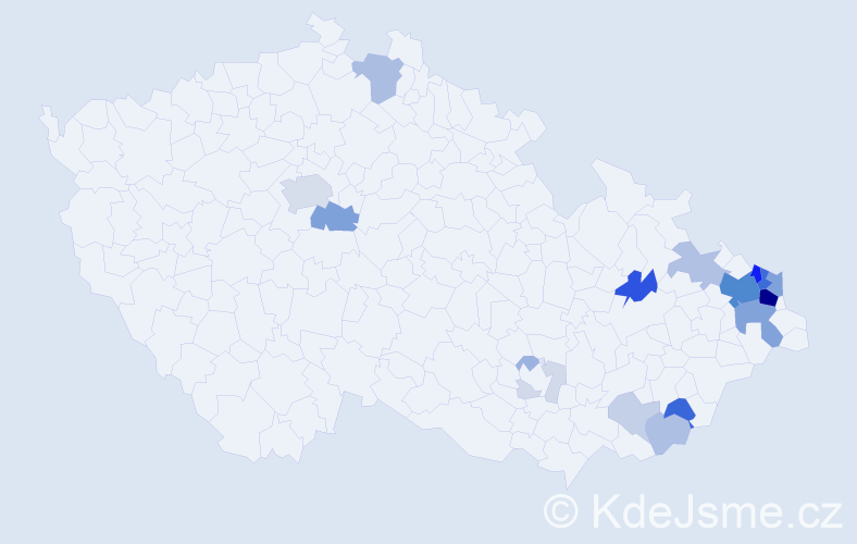 Příjmení: 'Koběrský', počet výskytů 107 v celé ČR