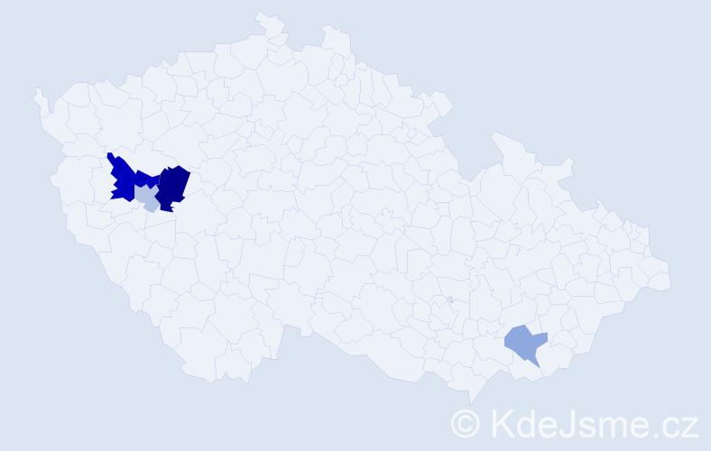 Příjmení: 'Kanyicska', počet výskytů 8 v celé ČR