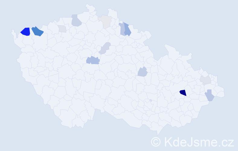 Příjmení: 'Frankovičová', počet výskytů 33 v celé ČR