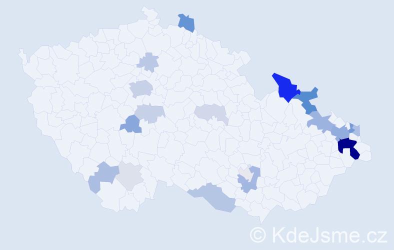 Příjmení: 'Glombová', počet výskytů 70 v celé ČR