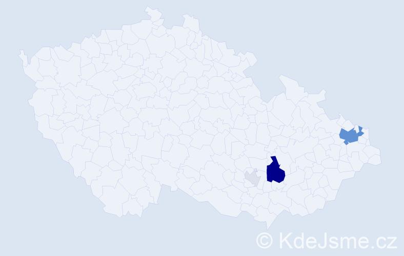 Příjmení: 'Čačová', počet výskytů 16 v celé ČR