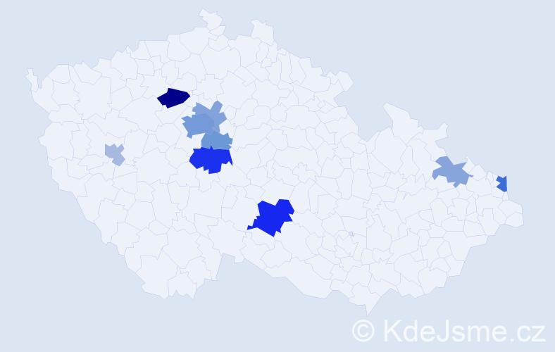 Příjmení: 'Kavalier', počet výskytů 24 v celé ČR