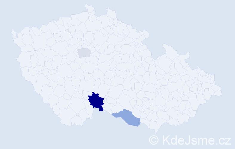 Příjmení: 'Hončák', počet výskytů 6 v celé ČR