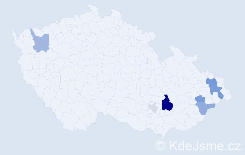 Příjmení: 'Baričáková', počet výskytů 15 v celé ČR