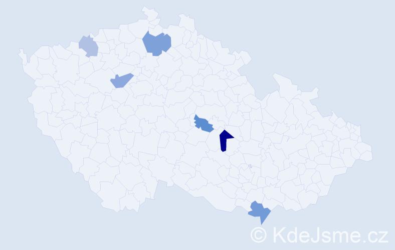 Příjmení: 'Kanalas', počet výskytů 10 v celé ČR