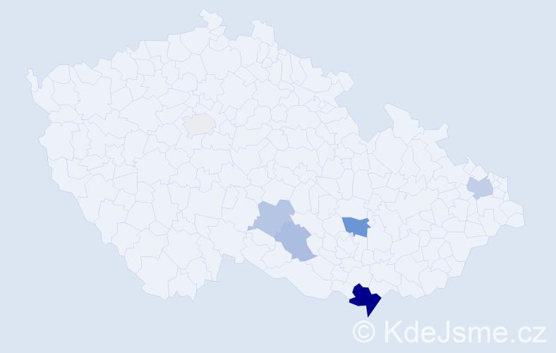 Příjmení: 'Hallang', počet výskytů 13 v celé ČR