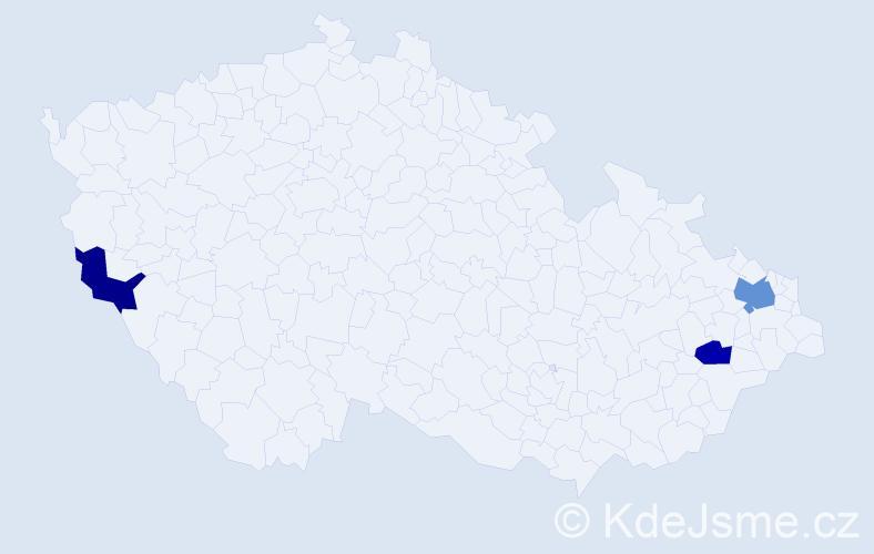 Příjmení: 'Halavič', počet výskytů 4 v celé ČR