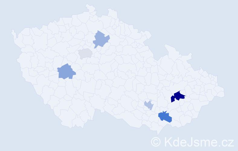 Příjmení: 'Koksa', počet výskytů 13 v celé ČR