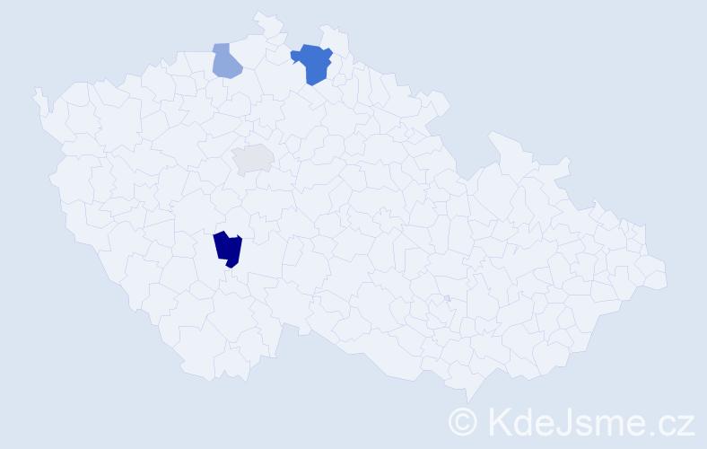 Příjmení: 'Kollmer', počet výskytů 6 v celé ČR