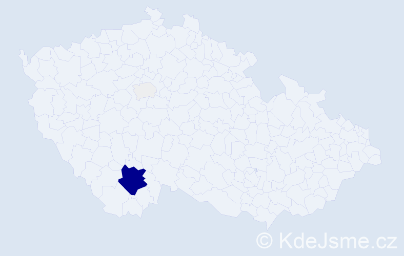 Příjmení: 'Irmiš', počet výskytů 19 v celé ČR