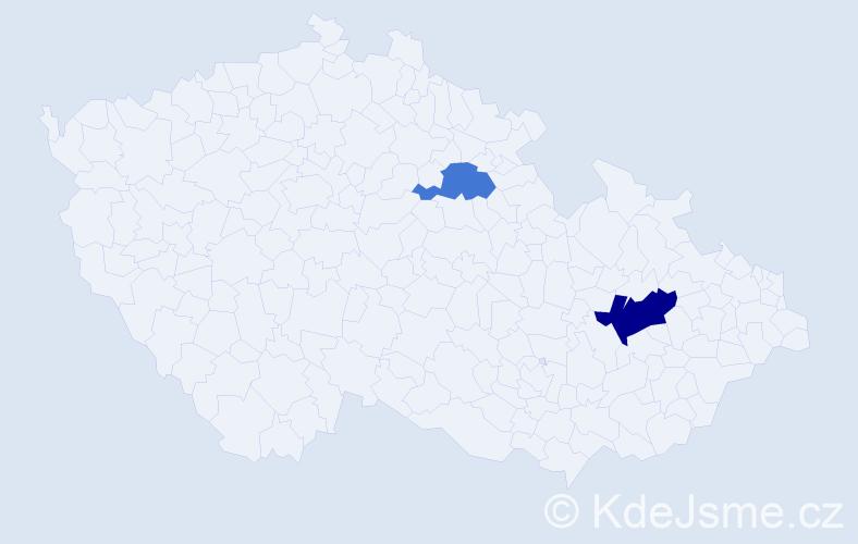 Příjmení: 'Ganbaatar', počet výskytů 3 v celé ČR